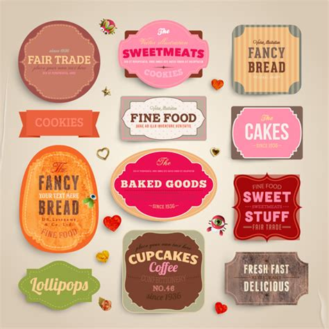 design label food cute food labels design vector 02 over millions vectors