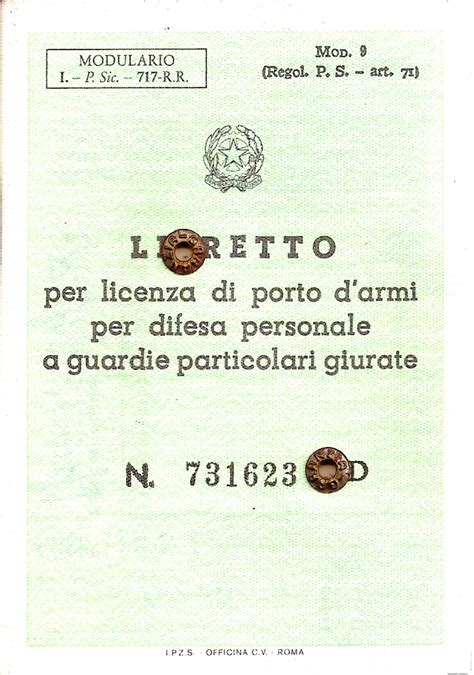 libretto personale per licenza di porto di fucile libretto per licenza di porto d armi per difesa personale