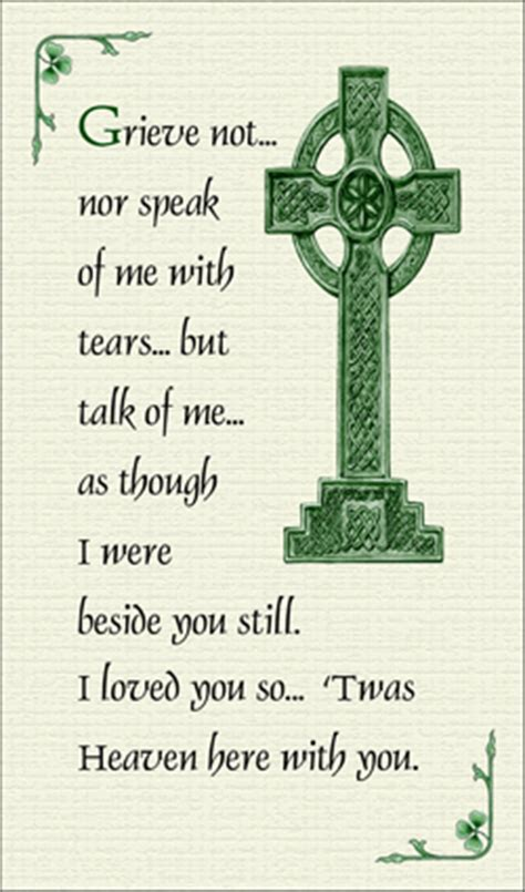 Celtic Funeral Card Free Templates by Prayer On Front Cards Page 1