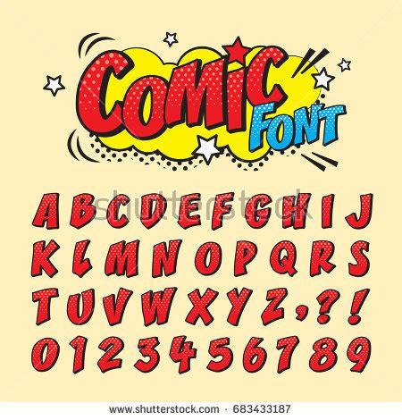 font pop art comic retro font set alphabet letters stock vector