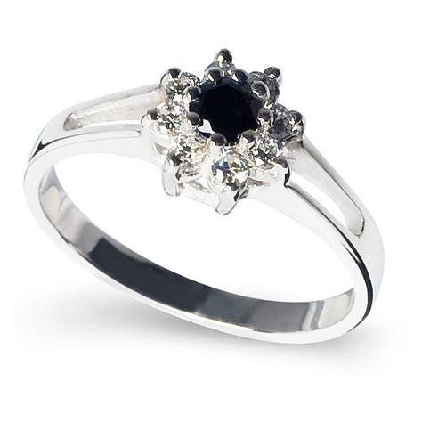 cluster sterling silver ring with black and white