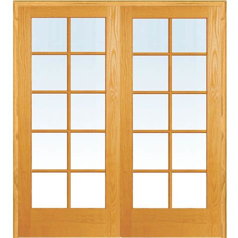 Wood Doors With Glass Milliken Millwork 61 5 In X 81 75 In Classic Clear Glass 10 Lite True Divided Unfinished Pine