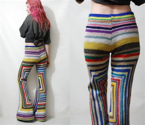 Celana Pendek Vintage crochet square flares bells rainbow 70s vintage knit wool hippie bohemian xs s