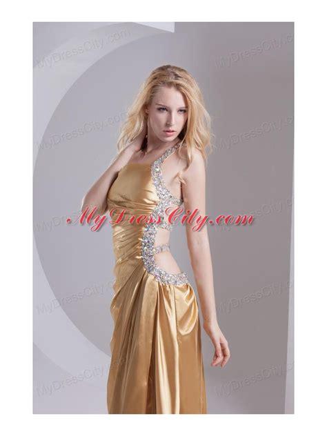column one shoulder taffeta beading ruching gold prom