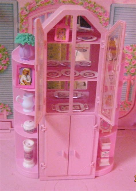 barbie armoire barbie sweet roses furniture armoire wall unit lots of