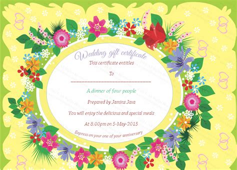 floral gift card template beautiful floral wedding gift certificate template
