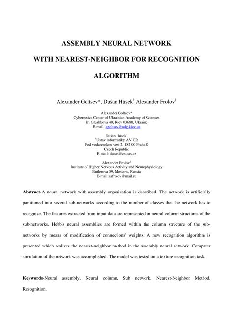 pattern recognition k nearest neighbor assembly neural network with pdf download available