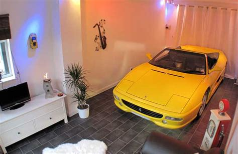 car in living room cars parked inside homes pretty or pretty weird