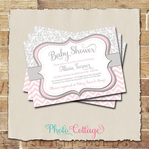 Pink And Grey Baby Shower Invites by Pink Gray Baby Shower Invitation Damask And Chevron