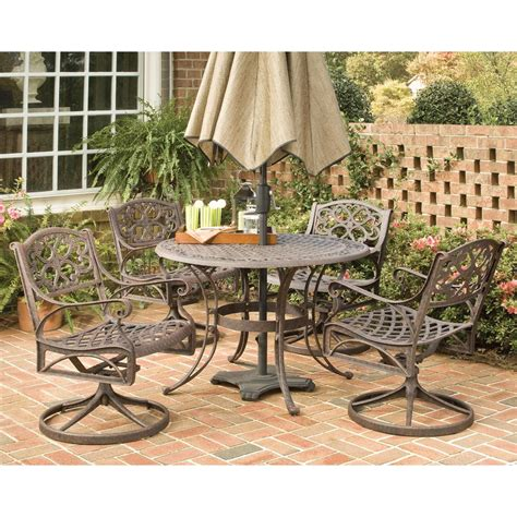 48 quot biscayne outdoor dining set with 4 swivel arm chairs