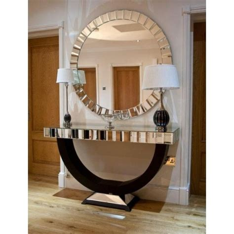 foyer quartz mirrored quartz u shaped console table