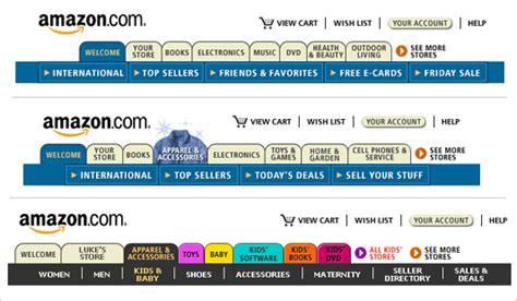 amazon history lukew the history of amazon s tab navigation