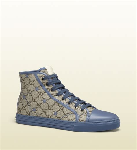 gucci sneakers for gucci gg supreme canvas hightop sneaker in blue for