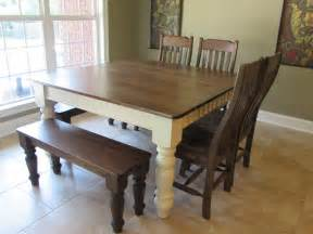 custom square farmhouse farm table w matching benches just fine tables