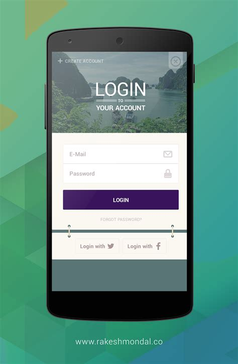 login app for android android travel app login screen on behance