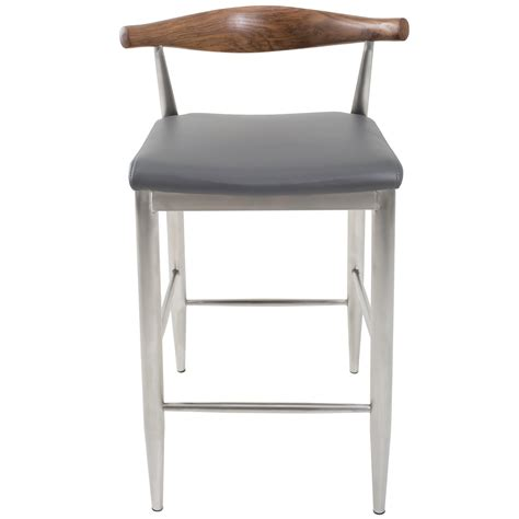 26 Inch Wood Counter Stools by Timbr 26 Inch Brushed Stainless Solid Wood Mid Back