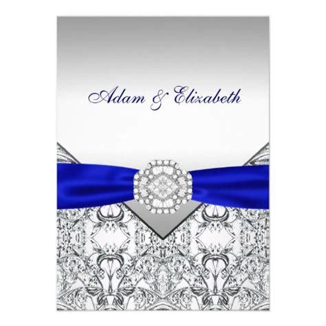 elegant silver  royal blue wedding invitations zazzle