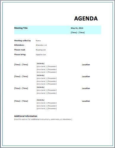 strategic meeting agenda template printable meeting