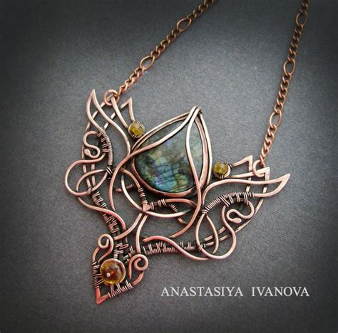 how to make copper jewelry from wire necklace with labradorite by nastya iv83 deviantart on
