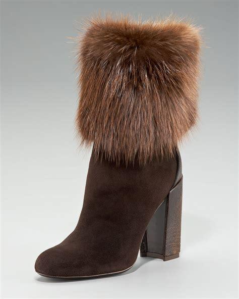 laurent aurelya fur cuff ostrich heel ankle boot in