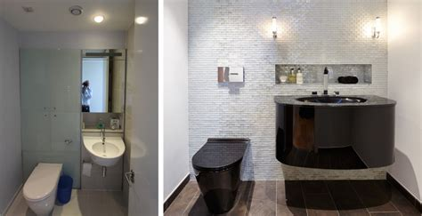 before and after powder room cloakroom design