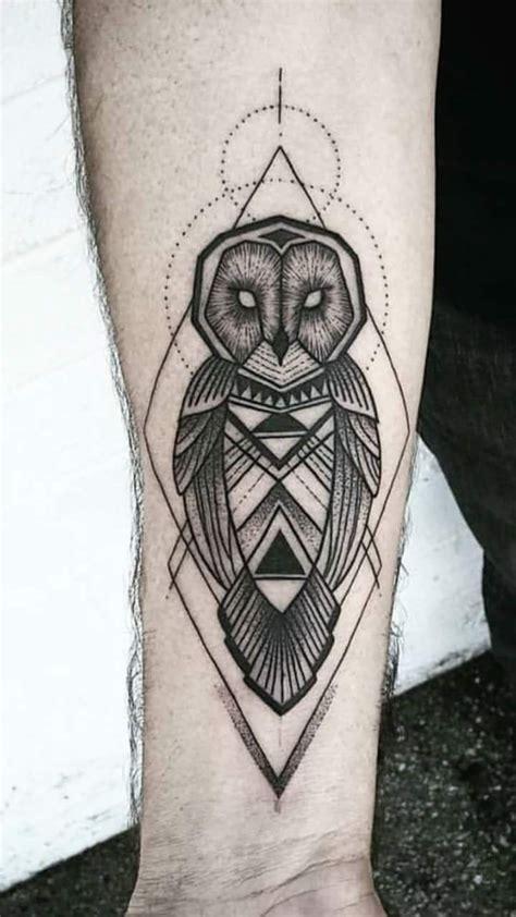 geometric owl tattoo 40 edgy owl design ideas for an enigmatic style