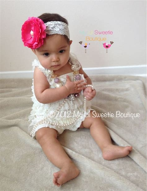 beby on pinterest flower girls baby girl photos and ivory vintage lace petti romper baby girl outfit