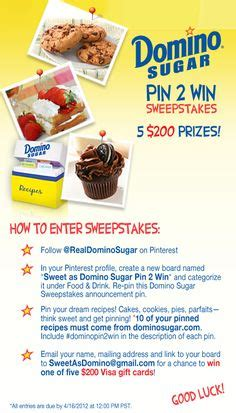 Domino Sugar Sweepstakes - food beverage and food service brands on pinterest on pinterest romantic weekend
