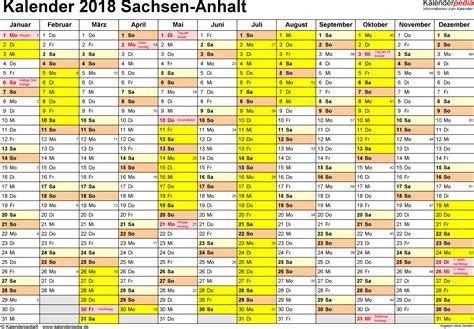 Kalender 2018 Ausdrucken Sachsen Anhalt Ferien Sachsen Anhalt 2018 220 Bersicht Der Ferientermine