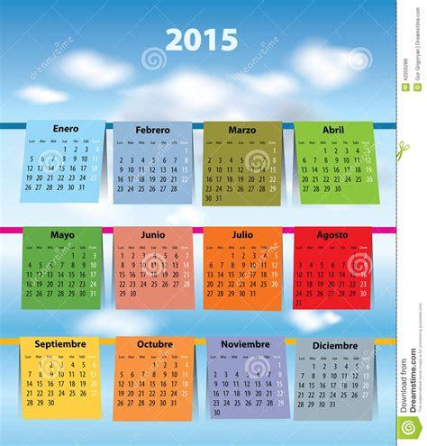 Giorni Festivi Sul Calendario Calendario Spagnolo Variopinto Per 2015 Fotografia Stock