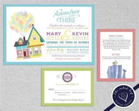 disney up wedding invitation caricature design our greatest adventure carl and ellie s house