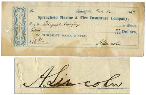 abraham lincoln signed check