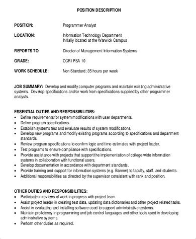 computer programmer job description sle 11 exles