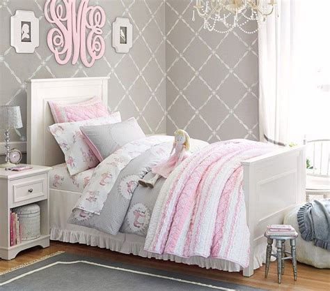 pink and grey girls bedroom pb grey and pink girls room girls room pinterest