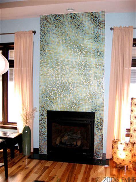 Glass Mosaic Tile Fireplace by Loft Elliptical Glass Mosaic Tile Gradient Fireplace Design
