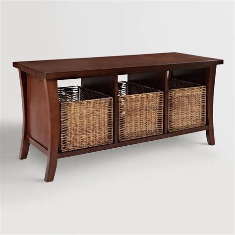 storage basket bench mahogany wood cassia entryway storage bench with baskets world market