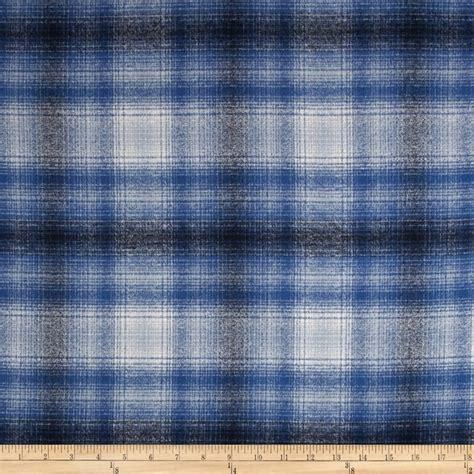 Flanel Tartan Blue White kaufman mammoth flannel plaid blue discount designer fabric fabric