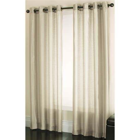 lowes window curtains shop allen roth edistone 63 in ivory polyester grommet