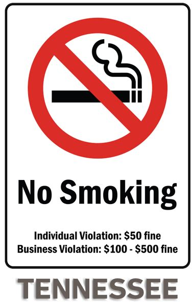 no smoking sign fine tennessee no smoking sign by safetysign com r5738