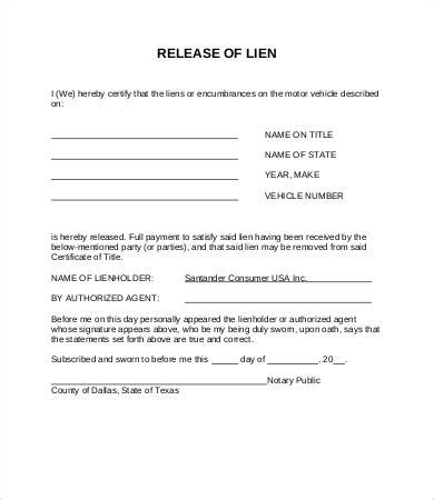 Lien Release Letter From Gmac Lien Release Form 8 Free Word Pdf Documents Free Premium Templates