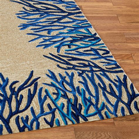 coral runner rug blue coral reef indoor outdoor area rugs