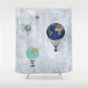 air balloons shower curtain fanciful world flight