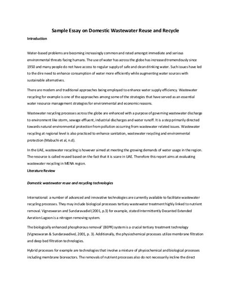Reduce Reuse Recycle Essay by Sle Essay On Domestic Wastewater Reuse And Recycle