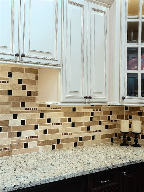 travertine kitchen backsplash brown glass travertine mix backsplash tile for traditional