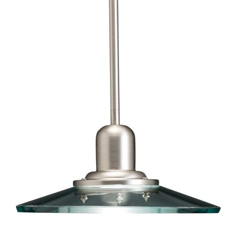 Lowes Pendant Light Shop Allen Roth Galileo 10 In Brushed Nickel Industrial Mini Clear Glass Cone Pendant At Lowes