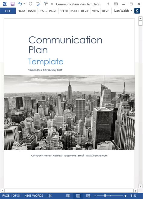 Communication Plans Template by Communication Plan Templates Ms Word And Excel