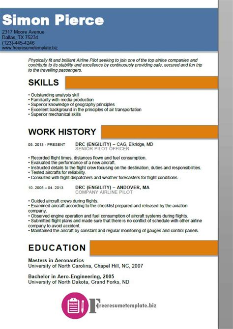 parking airline format for simple pilot resume template resume template easy http www 123easyessays