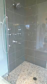 Large Shower Bath Large Grey Glass Tiles On Wall Smaller Mosaic Like