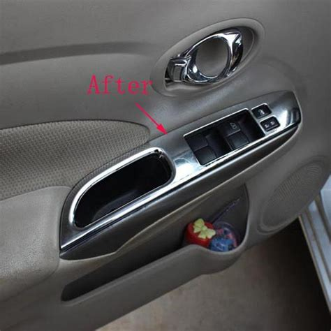 Interior Door Covers For Nissan Versa Almera 2014 Abs Chrome Interior Door Handle Armrest Cover Sticker Trim Car
