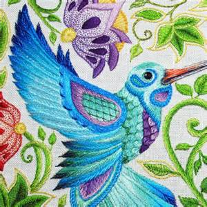 Let your imagination fly with hand embroidered feathers
